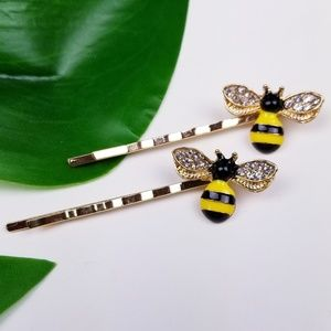 Bumble Bee Hair Pins Clips Set of 2